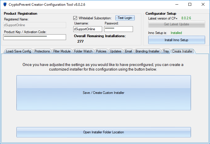 CryptoPrevent White-Label Creator Create Installer Tab